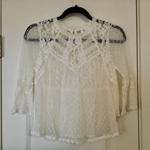 FREE PEOPLE NWOT SHORT LACE BLOUSE.